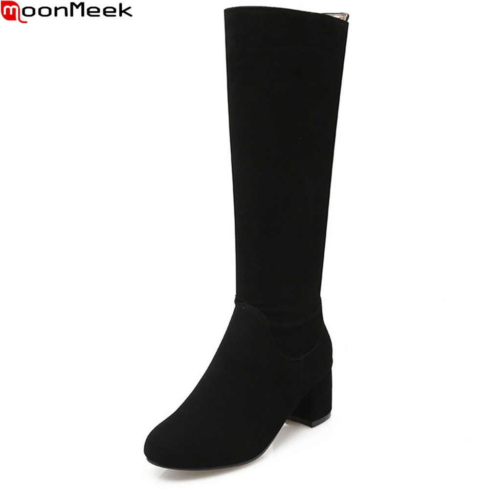 MoonMeek 2018 fashion women boots black gray brown flock ladies boots zipper tound toe square heel winter knee high boots