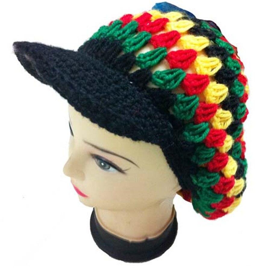 10pcs lot HOT Fashion Net Rasta Handmade Crochet KUFI Beanie Hat Knitted  Reggae Style Cap Jamaica ... e0bd3864de0a