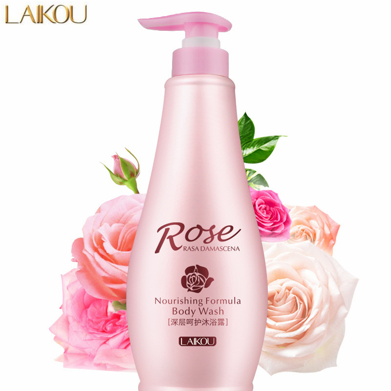 LAIKOU Lasting Fragrance Rose Essential Oil Body Wash 500g Deep Cleansing Bath Gel Whitening Moisturizing Shower Gel Skin Care