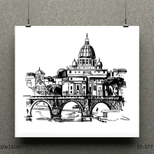 AZSG  Castle Bridge Clear Stamps/Stamp/For Scrapooking/Card Making/Silicone Stamps/Decoration Crafts