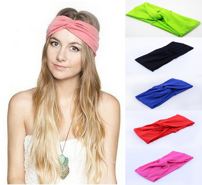 100PCS/LOT Twist Elasticity Turban Headbands for Women Head band Headband Headwear Hairbands Bows Girls Hair Accessories