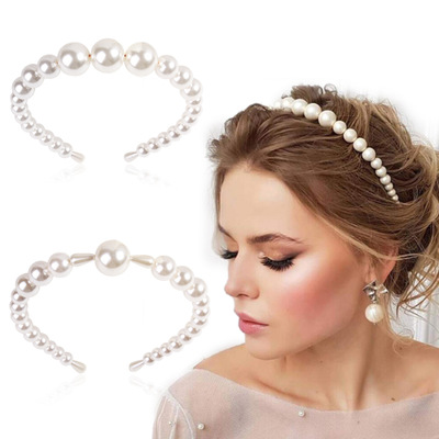 2019 Statement Big Pearls Hairbands Elegant Headband Women Headwear Cute Pearls Bezel For Girls Hair Accessories
