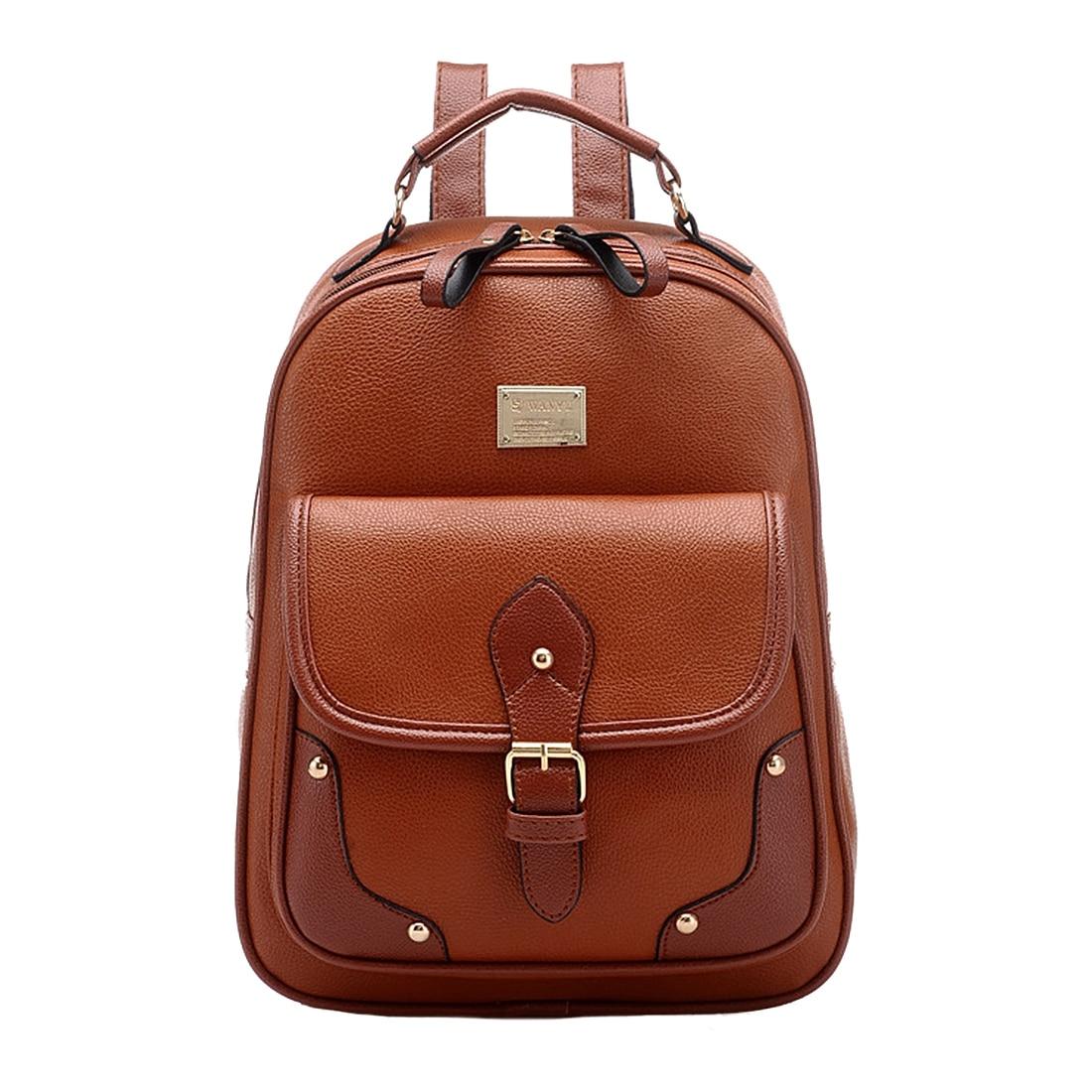 BEAU Vintage Leather Backpack Rucksack Shoulder  School Bag Knapsack Brown