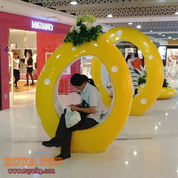 RUYA Big Decorative Chair,fiberglass Mall Decoration Round Seating And  Planter.Resin Furniture Commercial