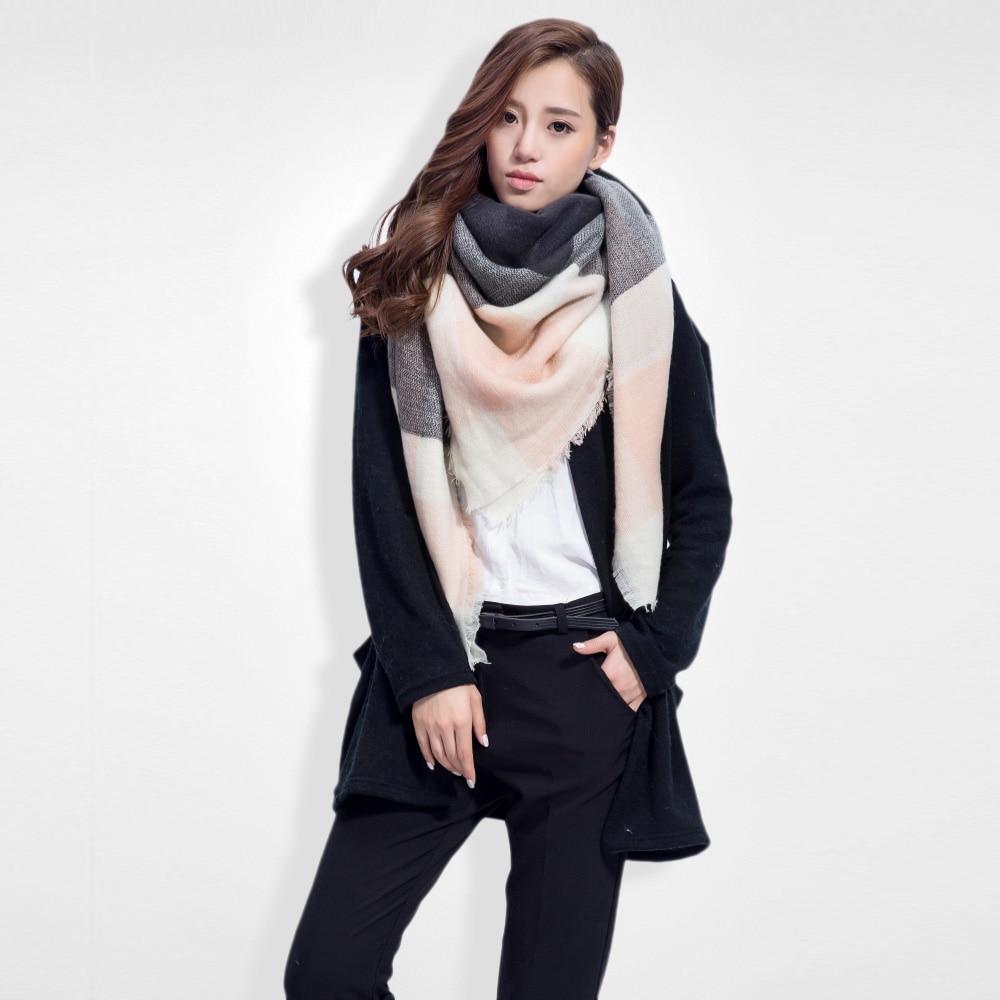 Brand Scarf Women Fashion Scarves Top Quality Blankets Soft Cashmere Winter Scarf Warm Square Plaid Shawl 009