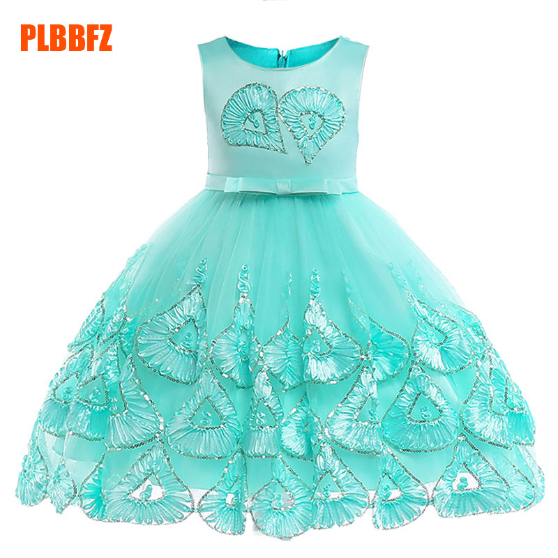 Summer Children's Party Clothing Girl Ball Gown Wedding Clothes First Communion Princess Dress Baby Tutu Costume Clothes L5033