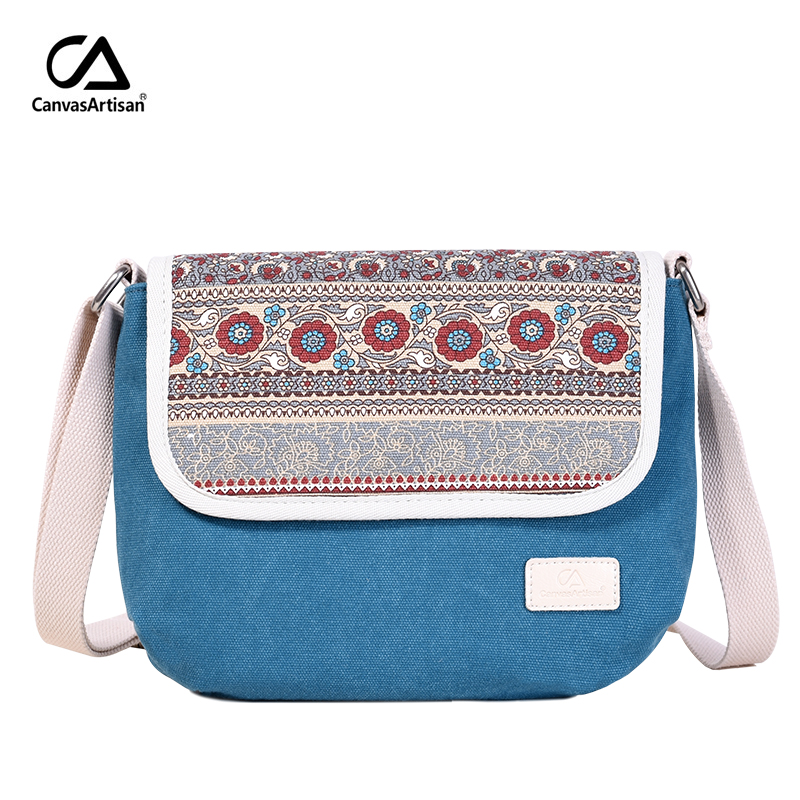 Canvasartisan new women's shoulder bag reteo canvas messenger bag floral style female daily travel crossbody bags top quality
