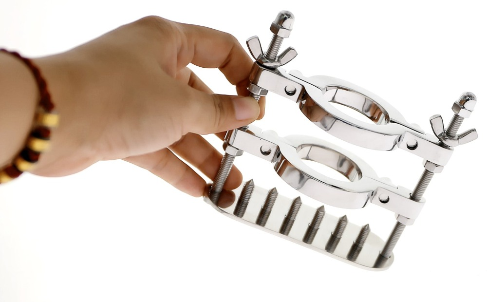 SPIKED DOUBLE RINGS BALL SMASHER CRUSHER  Penis CRUSHER Stainless Steel Scrotum Bondage BDSM Ball Stretcher Scrotal Fixture