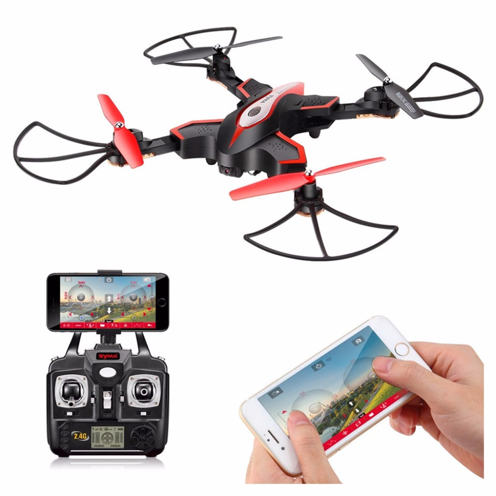 Syma X56W Foldable RC Quadcopter With HD Wifi Camera 4 Channel Headless Mode One Key Take off Landing Airplane-Black jjr c jjrc h43wh h43 selfie elfie wifi fpv with hd camera altitude hold headless mode foldable arm rc quadcopter drone h37 mini