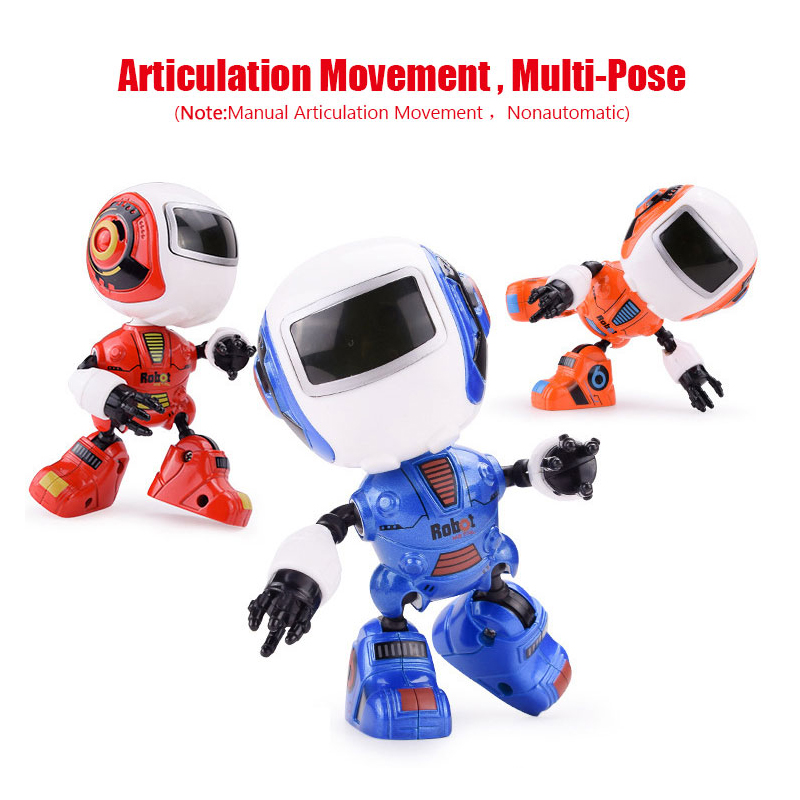 Fansaco Mini Robot Cute Alloy Robot Lighting Voice Intelligence Induction Joint Rotatio ...