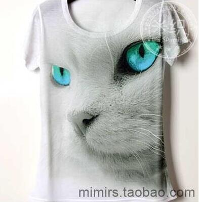 White Big Head Cat Children's clothes baby short sleeve T shirt printing cartoon boy and girl t shirts