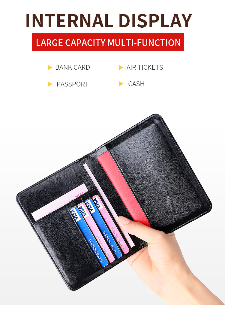 Passport Holder RFID Blocking Genuine Leather on Cover for Passport Bag Multifunctional Travel Air Ticket Leather Case Wallet