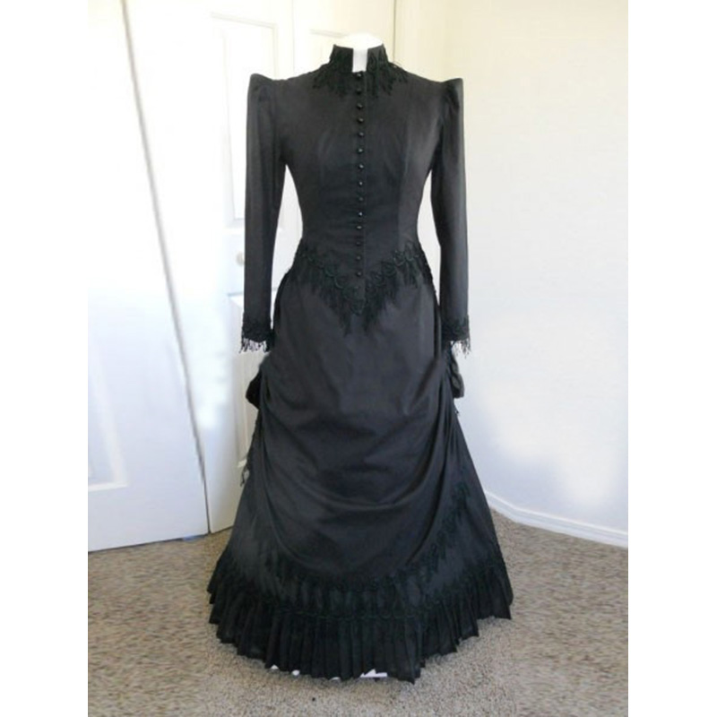 2018 Black Long Sleeve Classic Gothic Victorian Party Dress 18th Century Cotton Victorian Bustle Ball Gowns
