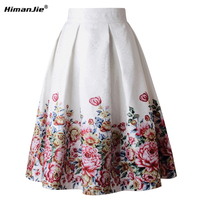 HimanJie Vintage Retro Floral Print Skirts Womens High Waist Rockabilly Pleated Audrey Hepburn Style Saias Midi