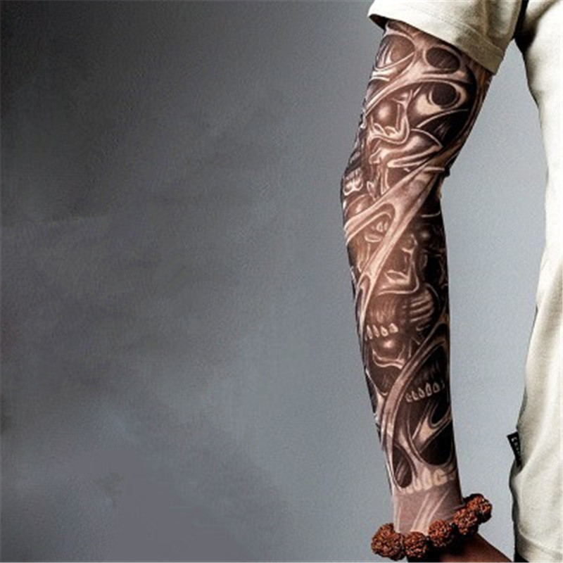 63a3b750d7fa9 1pc Man Personality Skull Tattoo Arm Sleeves Ultraviolet proof Cuff Running  Cycling Sports Warmers Elasticity Arm Warmers T27-in Arm Warmers from  Apparel ...