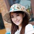 Лето лето шляпа солнца анти-уф складной большой солнцезащитный крем пляж крышка sunbonnet женщин