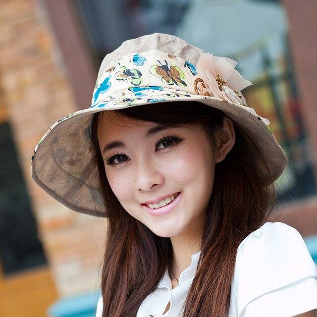 Verano sol del verano del sombrero anti-ultravioleta plegable grande protector solar casquillo de la playa del sunbonnet femenino