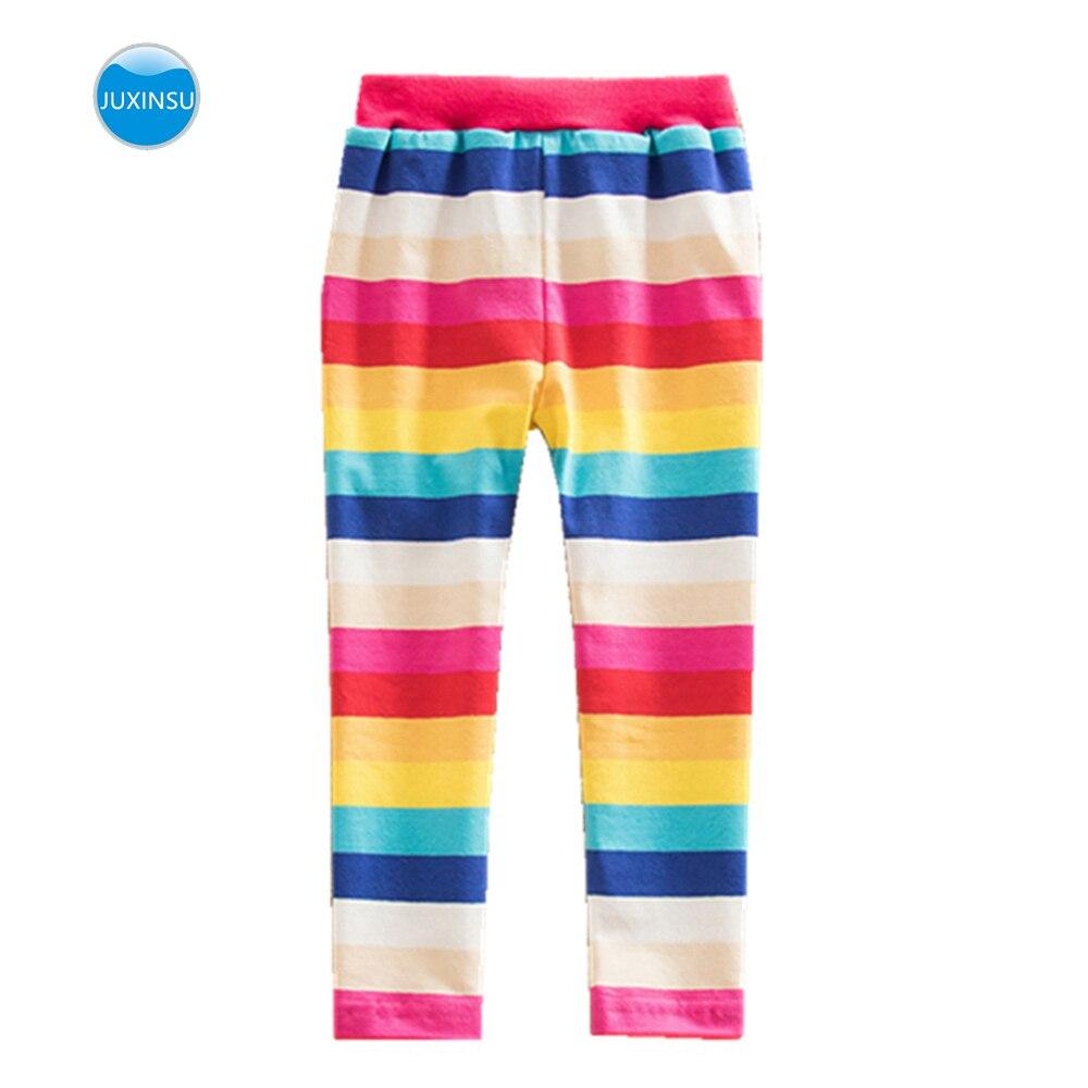 JUXINSU Girls Rainbow Stripe Leggings Cotton Flower Long Spring Summer Pants for 1-8 Years