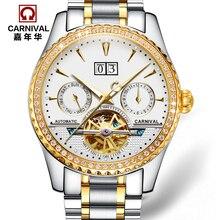 Carnival military tourbillon automatic mechanical popular brand watches mens luxury full steel fashion waterproof luminous watch