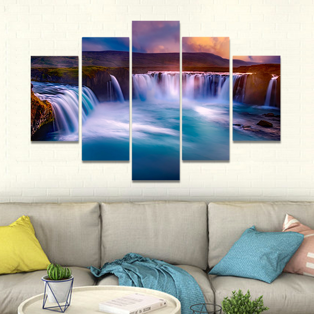 Unframed Canvas Painting Beautiful Valley Falls River Mountains Prints Wall Pictures For Living Room Wall Art Decoration