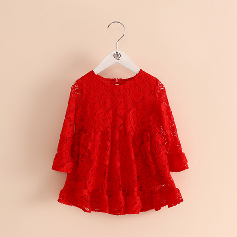 Red Spring summer Girl Lace Dress Clothes 2017 Kids Dresses For Girls Princess Party Wedding Long Sleeve Baby Girl Dress gift fashion jacquard spring and autumn long sleeved lace print dress princess party baby girl dresses girl clothes 3 7 yrs