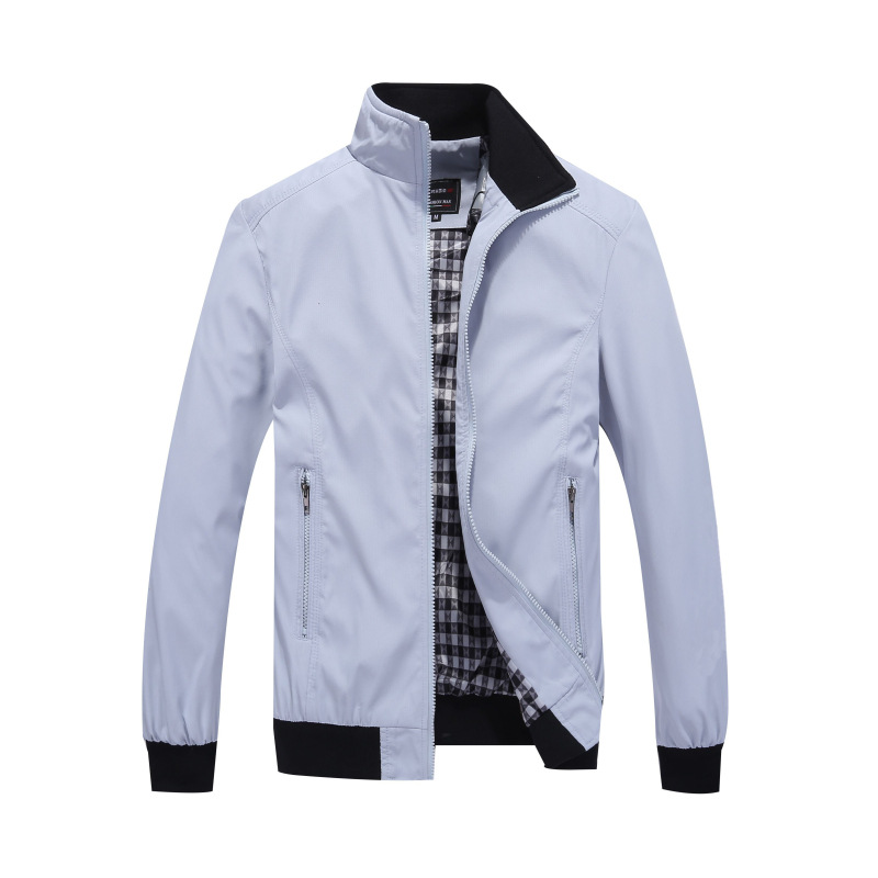 TIEPUS Solid color New 2018 Casual Jacket M-5XL 6XL 7XL Men Spring Autumn Outerwear Standing collar Business jacket man