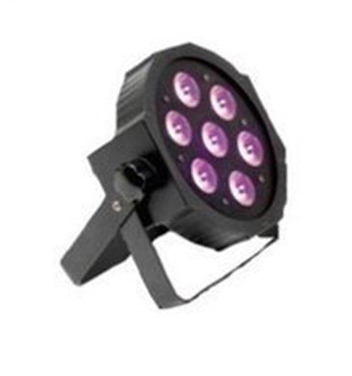 ФОТО 4pcs/lot 7x 9W RGB DMX Stage Lights Business Lighting High Power Led Flat Par Light Stage Lamps for Party KTV Disco DJ EU plug