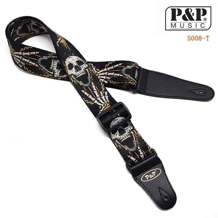 cool skull guitar strap with pu leather ends adjustable soft thick belt for electric acoustic. Black Bedroom Furniture Sets. Home Design Ideas