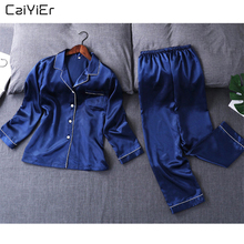 Caiyier 2018 Witer Silk Pajamas Sets Long Sleeve Sleepwear Pyjamas For Women Homewear Sexy Nightgown pyjama femme 5xl Size