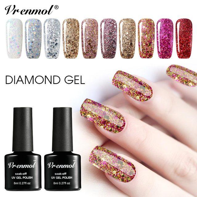 Vrenmol Shimmer Gel Lacquer Hybrid Diamond Nail Gel Polish Set Varnish Nail Gel Kit Top Base Coat Glitter Enamel