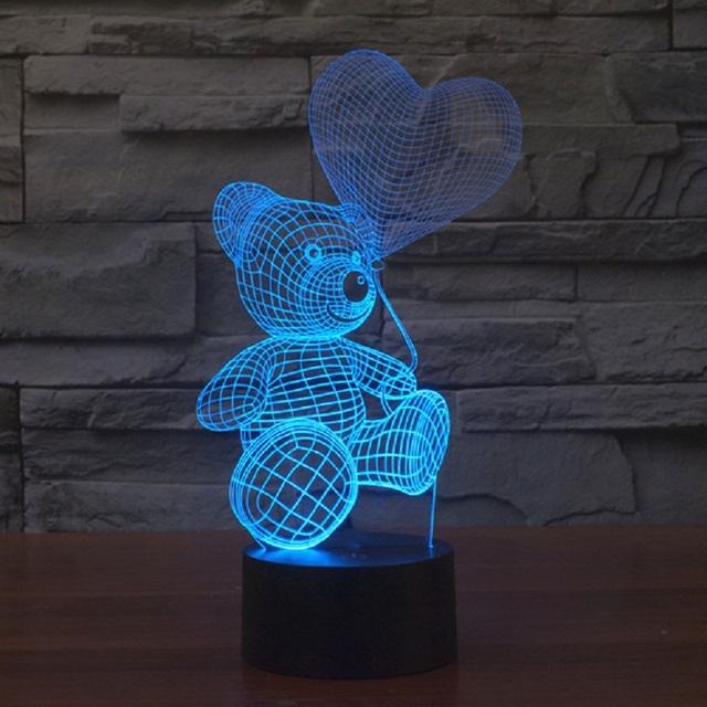 3D Cute Bear USB LED Lamp Baby Night Light 7 colour changes