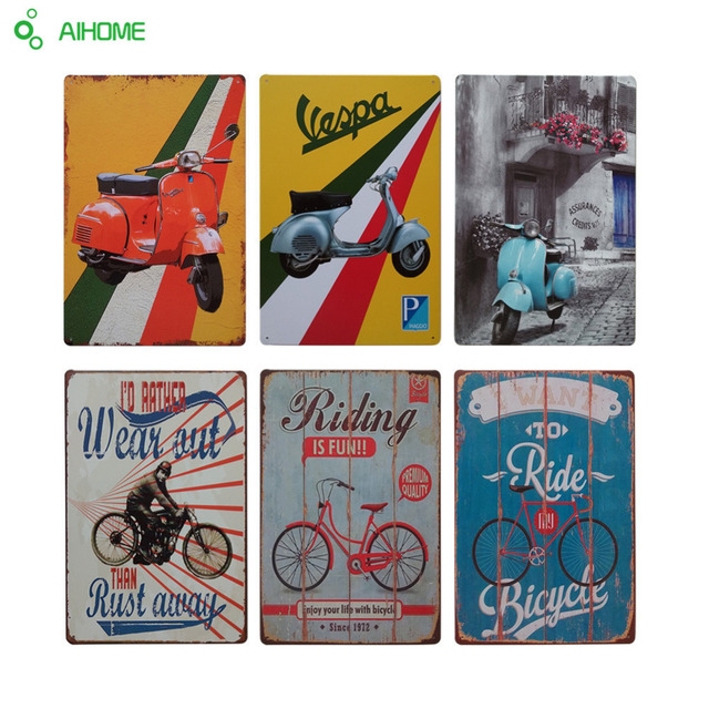 AIHOME Vintage Home Decor MOTORCYCLES RIDING Tin Signs Retro Art Metal Plate Painting Wall
