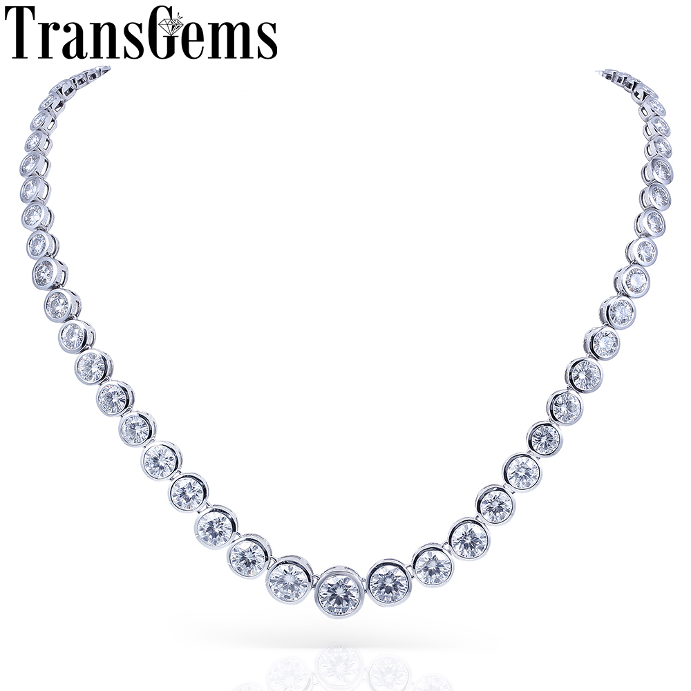 TransGems 13CTW Lab Grown Created Moissanite Eternity Diamond Chocker Necklace 18K White Gold for Women jewelry Wedding helon solid 18k 750 rose gold 0 1ct f color lab grown moissanite diamond bracelet test positive for women trendy style jewelry