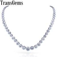 TransGems 13CTW Lab Grown Created Moissanite Eternity Diamond Chocker Necklace 18K White Gold for Women jewelry Wedding