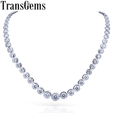 TransGems 15CTW Lab Grown Created Moissanite Eternity Diamond Chocker Necklace 18K White Gold for Women jewelry Wedding