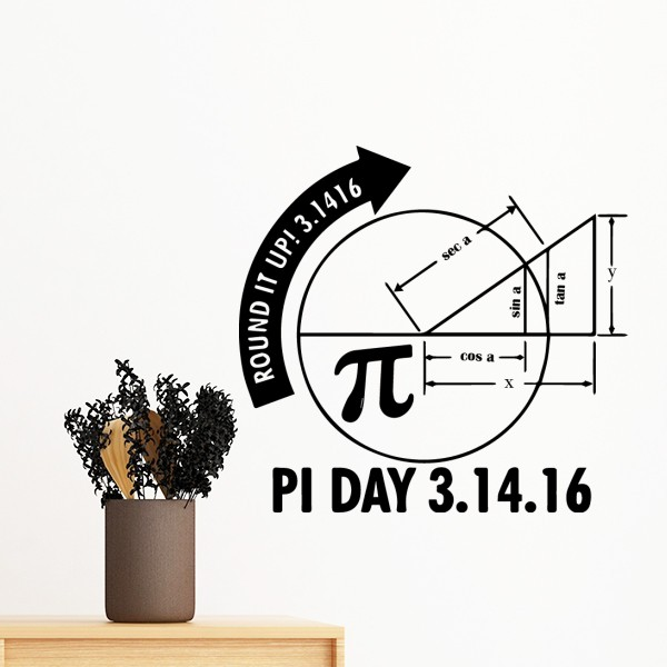 PI Day Round It Up Math Lovers Mathematics Symbol Quotes Creative Design Wall Sticker Art Decals Mural Wallpaper for Room Decal