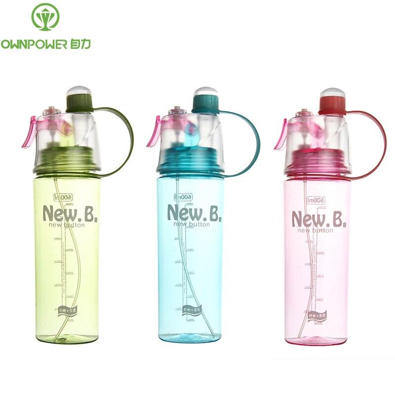 OWNPOWER 400ML 600ML Creative Spray Water Bottle Portable Atomizing Bottles Outdoor Sport Gym Shaker Drinking Drinkware Bottles