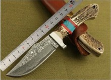 Top Quality 58HRC Steel Antler Blade Hunting Knife Pocket Knife Double Colour Wooden Handle Keel Collection Gift Tactical Knife
