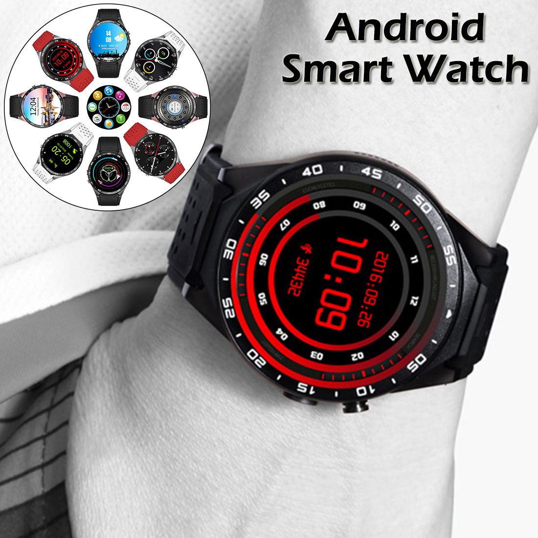 KW88 2MP HD camera 3G Smartwatch BT4.0+WiFi MTK6580 Quad Core 512MB 4GB GPS Pedometer Positioning Smart Watch for Android Phone