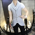 M-3XL Summer New thin section Slim sleeveless suit vest jacket casual antistatic coat long Waistcoat hairstylist singer costumes
