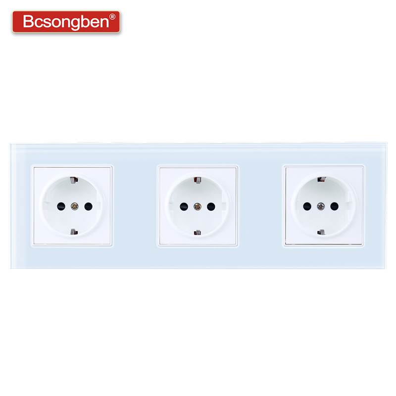 Bcsongben EU Standard Pop Power Socket 3 Way Power Socket 16A Plug Grounded Electrical Triple Wall Outlet Crystal Glass  Panel
