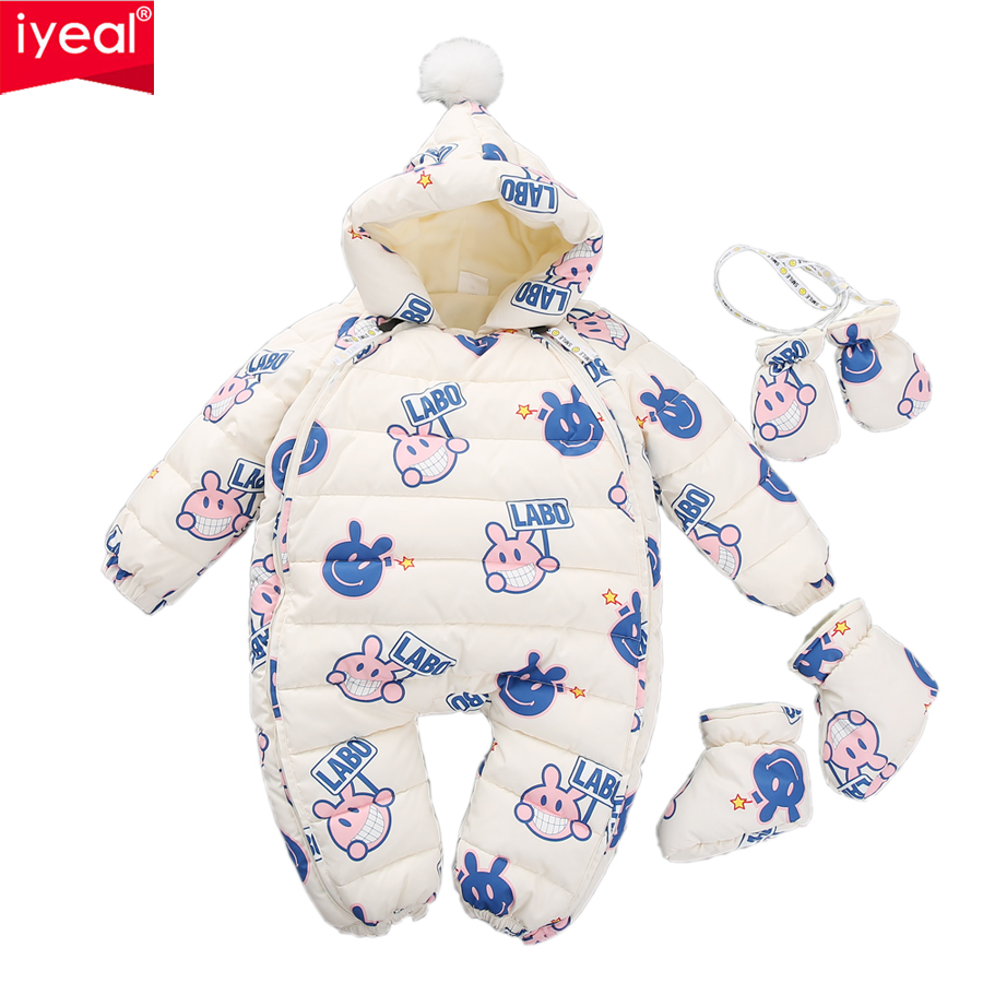 цена IYEAL Children Newborn Winter Rompers Duck Down Jumpsuit Kids Boy Girl Clothing Baby Clothes Snow Wear Thicken Warm Overalls