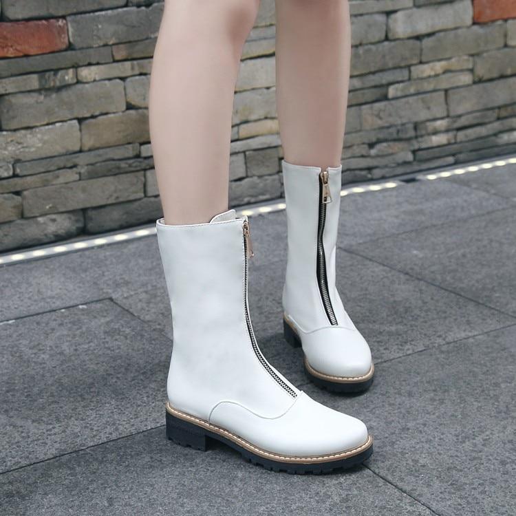 SALCXOI winter boots women 2017 fashion chelsea boots womens short boots PU solid zip white black large size shoes female &J16-6 calvin klein new black white colorblock womens size large l crewneck sweater $79