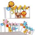 Juguetes de bebé infantil gira en torno león conejo de dibujos animados cama de bebé sonajeros juguetes de peluche música cama asiento de seguridad de peluche de juguete campana de mano