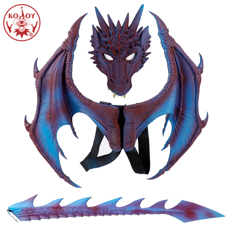 Cosplay costume Disfraz De Dinosaurio Halloween Carnival  Party Kids Cosplay Decoration Set Wing mask Tail Child Dragon Costume