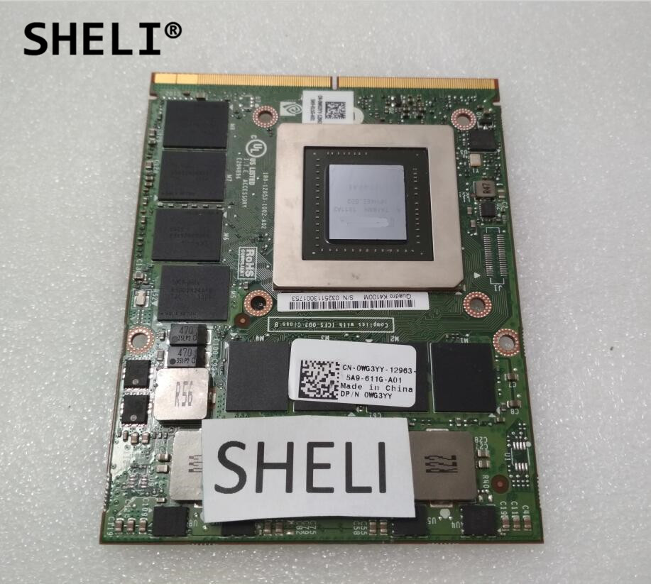 SHELI WG3YY CN-0WG3YY N15E-Q3-A2 K4100M 4GB GDDR5 VGA Video Graphics Card For M6700 M6800