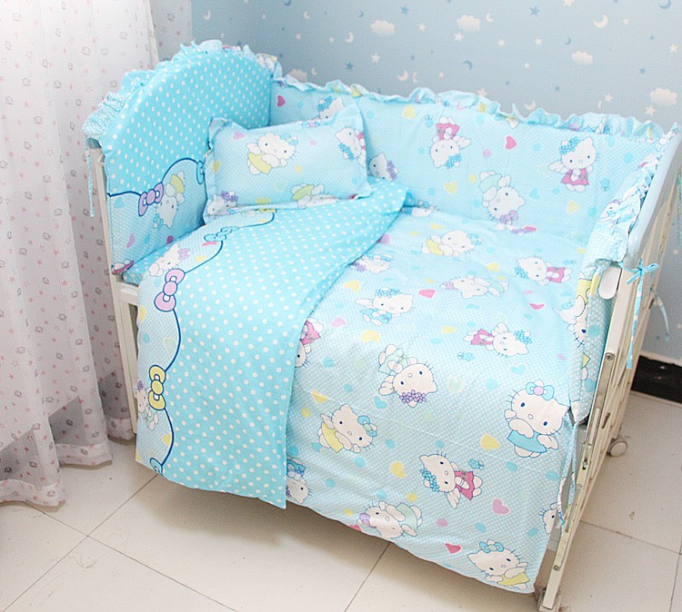 Promotion 6pcs Hello Kitty Baby Bedding Set Infant