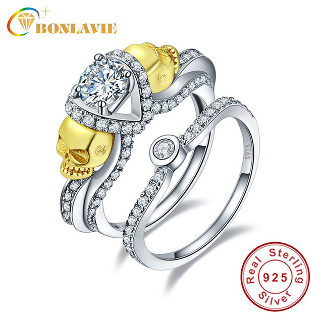 Silver Skull Ring AAA White Cubic Zirconia Sterling Silver 925 Ring Set Charms Engagement Rings for Women Wedding Bague with box