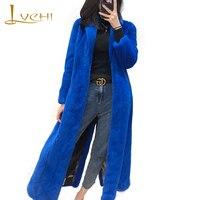LVCHI Winter2017 Velvet Real Mink Coat Women S Long Sleeve Coat Electric Light Blue Slim Split
