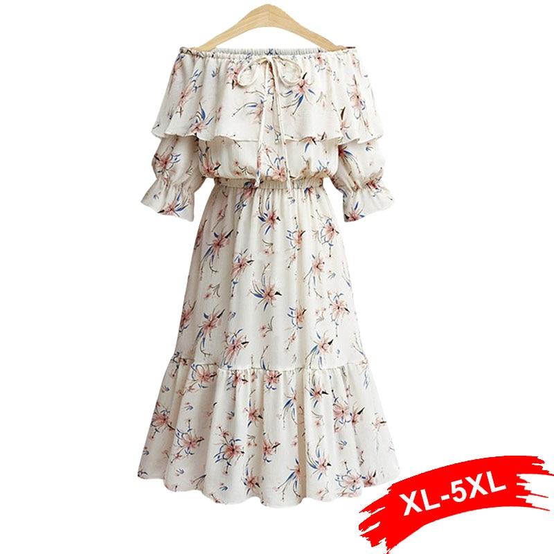 Plus Size Ruffle Off Shoulder Summer White Dress 4XL 5XL Women Boho Long Casual Sash Elastic Waist Flower Print Dress